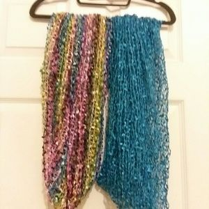 New infinity scarf. 1 turquoise, and 1 rainbow.